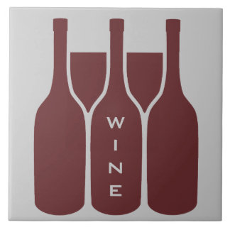 De Flessen en de Glazen van de wijn ontwerpen Tegeltje Vierkant Large