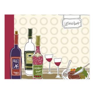 De flessen van de wijn met wijnglazen op lijst briefkaart
