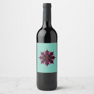 De flessenteken van de wijn chapagne met Mandala Wijnetiket