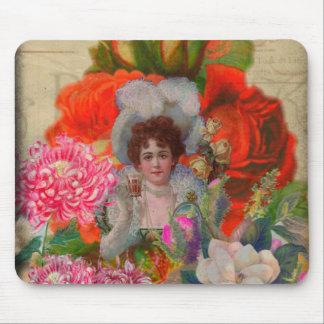 De fluorescente Vintage Collage van de Bloem van Muismat