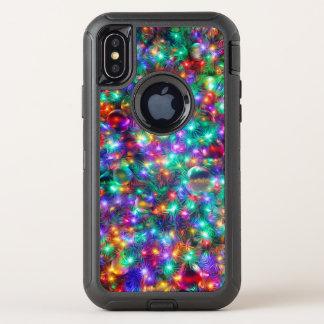 De Fonkelende Sterren van Kerstmis van de luxe OtterBox Defender iPhone X Hoesje