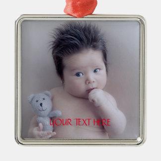 De Foto van de Familie van de douane Zilverkleurig Vierkant Ornament