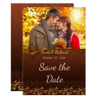 De Foto van de herfst bewaart de Datum Kaart