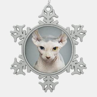 De Foto van de Kat van de Sfinx van het elf Tin Sneeuwvlok Ornament
