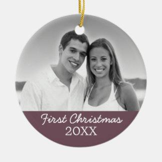 De Foto van eerste Kerstmis - kies Opgeruimd uit Rond Keramisch Ornament