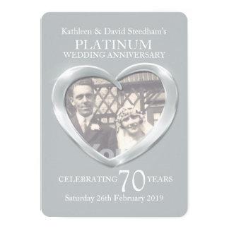 De foto van het het huwelijkshart van het platina 12,7x17,8 uitnodiging kaart