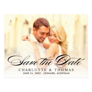 De Foto van het huwelijk bewaart de Datum   Zwart Briefkaart