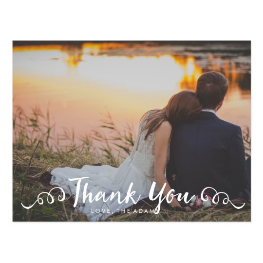 De Foto van het Huwelijk van de kalligrafie dankt Briefkaart