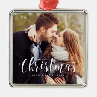 """De Foto van het Huwelijk van """"onze Eerste Zilverkleurig Vierkant Ornament"""