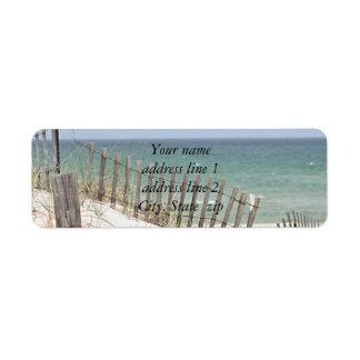 De foto van het strand etiket