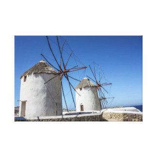 De Foto's van Mykonos: Windmolens Canvas Print