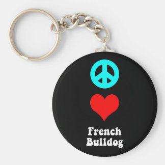 De Franse Buldog van de liefde van de vrede Basic Ronde Button Sleutelhanger