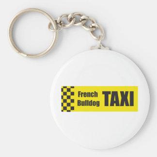 De Franse Buldog van de taxi Basic Ronde Button Sleutelhanger