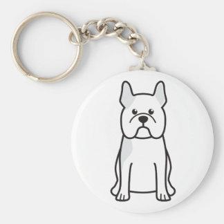 De Franse Cartoon van de Hond van de Buldog Basic Ronde Button Sleutelhanger