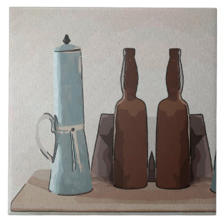 De Franse Koffie en Samenvatting van Flessen Keramisch Tegeltje