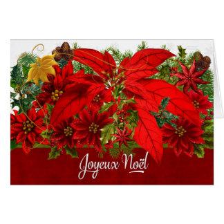 De Franse Poinsettia Joyeux Noël van Kerstmis Wenskaart
