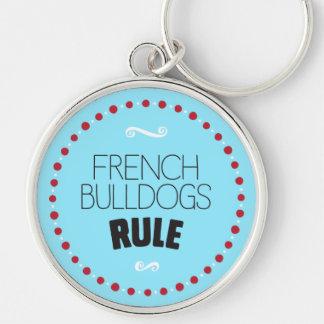 De Franse Regel van Buldoggen - Blauw Sleutelhanger
