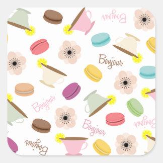 De Franse Sticker van Theekopjes Macarons & van