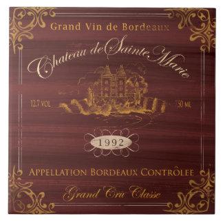 De Franse Tegel van het Etiket van de Wijn: Tegeltje