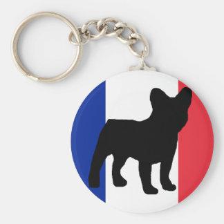 de Franse vlag van het buldogsilhouet Basic Ronde Button Sleutelhanger
