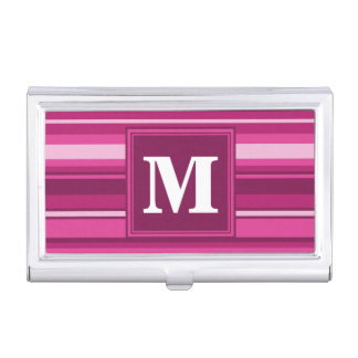 De fuchsiakleurig strepen van het monogram visitekaartjes houder