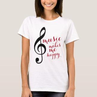 de g-sleutel, muziek maakt me gelukkig t shirt