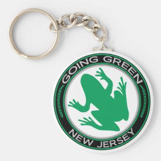 De gaande Groene Kikker van New Jersey Basic Ronde Button Sleutelhanger