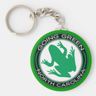 De gaande Groene Kikker van Noord-Carolina Basic Ronde Button Sleutelhanger