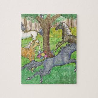 De galopperende Paarden van de Mustang in de Puzzel