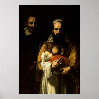De gebaarde Vrouw die, 1631 de borst geven Poster