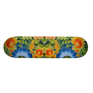 De gebieden van de zonnebloem voor altijd - blauw 21,6 cm old school skateboard deck