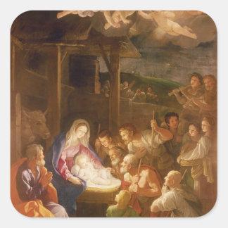 De geboorte van Christus bij Nacht, 1640 Vierkante Sticker