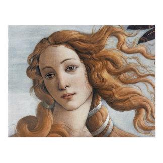 De geboorte van Venus sluit omhoog hoofd Briefkaart