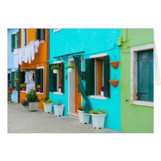 De Gebouwen van Italië van Burano dichtbij Venetië Wenskaart
