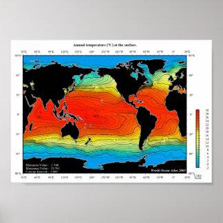 De Gedetailleerde Kaart van de Temperatuur van de Poster