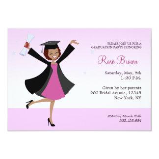 De gediplomeerde Afrikaanse Amerikaanse 12,7x17,8 Uitnodiging Kaart