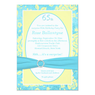De GEDRUKTE Blauwe Gele 65ste Verjaardag van het 12,7x17,8 Uitnodiging Kaart