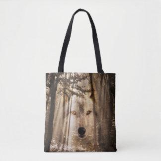De geest van de wolf in het bos draagtas
