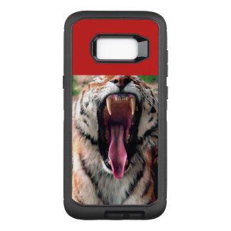 De geeuw van de tijger, tong, hoektanden OtterBox defender samsung galaxy s8+ hoesje