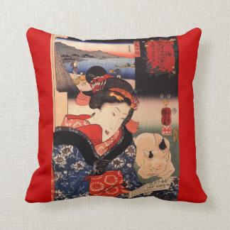 De geisha en Haar Kat werpen Kussen