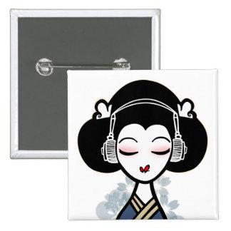 de geisha slaat knoop vierkante button 5,1 cm