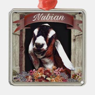 De Geit van Nubian Zilverkleurig Vierkant Ornament