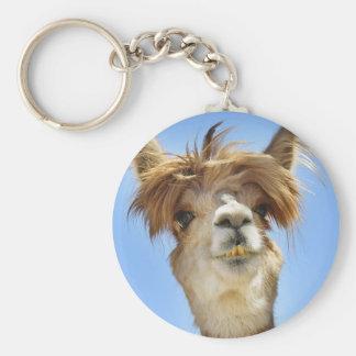 De gekke Alpaca van het Haar Basic Ronde Button Sleutelhanger