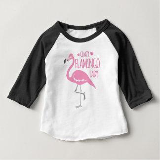 De gekke dame van de Flamingo Baby T Shirts