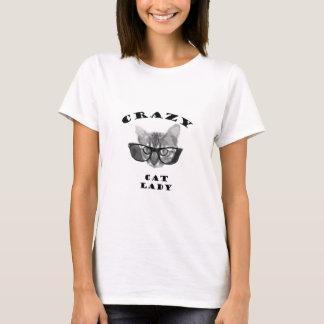 De gekke Dame van de Kat met Glazen Hipster T Shirt