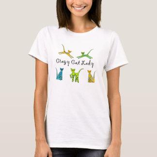 De gekke Dame van de Kat T Shirt
