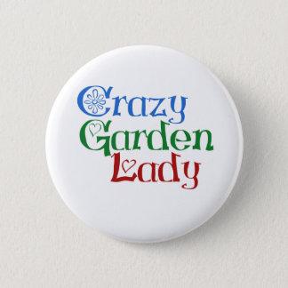 De gekke Dame van de Tuin Ronde Button 5,7 Cm
