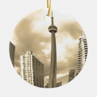 De gekke Horizon van Toronto Rond Keramisch Ornament