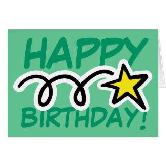 De gekke Kaart van de Verjaardag met gele ster