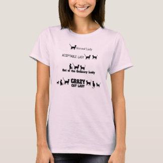 De gekke Kat Dame Tee met Kat silhouetteert Druk T Shirt